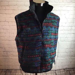 Columbia. Vintage Reversible colorful fleece vest